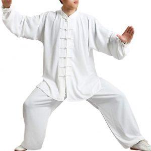 BOZEVON Traje de la Manga Larga Uniforme de Kung Fu de los Artes Marciales de los Hombres para Hombre